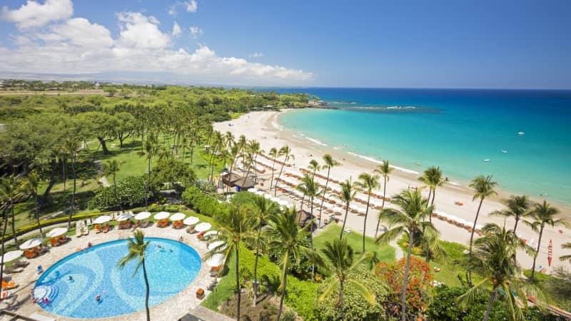 The beach at Mauna Kea Beach Hotel on the Big Island, Hawaii.