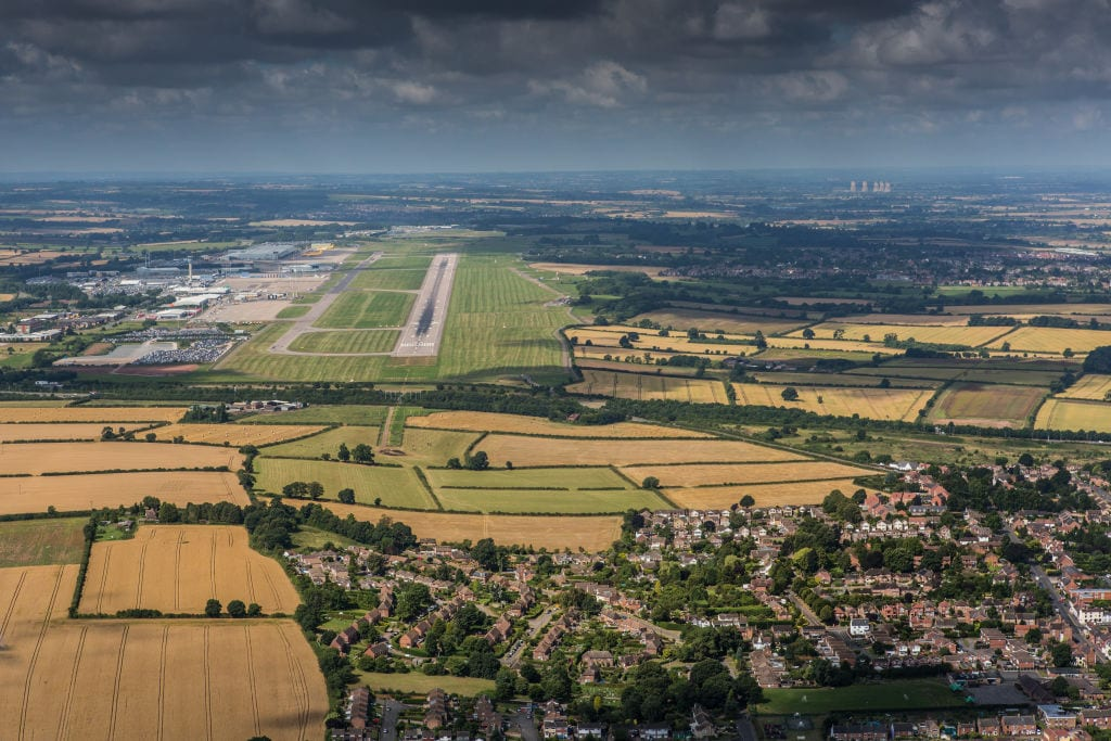 The approach to East Midlands Airport