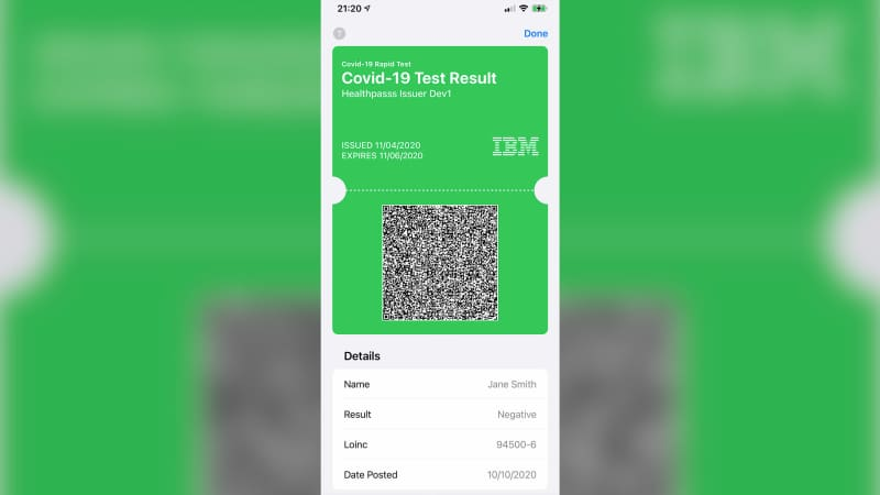 IBM's Digital Health Pass app creates an online vaccine credential that can be stored in a mobile wallet.