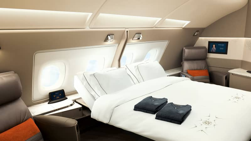 There's an option to convert some of Singapore Airlines' new first class suites to a double suite with a double bed.