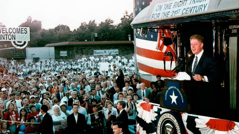 Bill Clinton jumped on the train bandwagon during reelection campaigning in 1996.