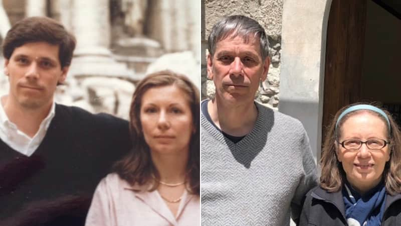 The Barretts regularly visit Aida's native Italy. Pictured (left) at the Trevi Fountain in 1987, and (right) in Amantea in 2019.