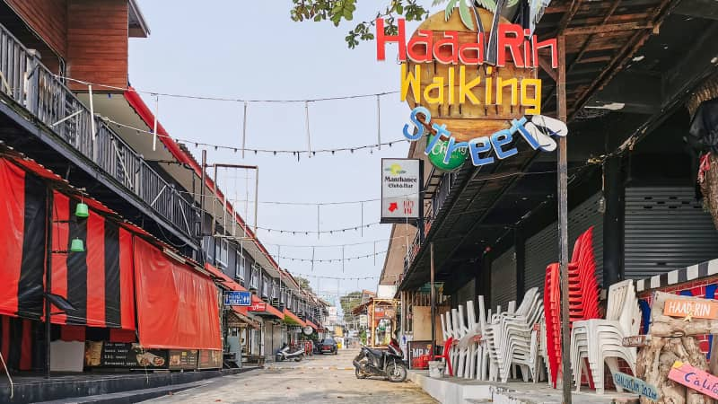 Many of the shops, bars and restaurants that line the streets of Haad Rin have been forced to close.