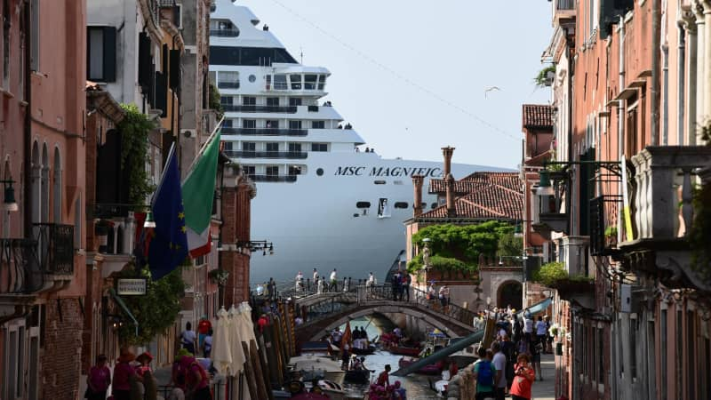 Venetians have been used to the city being dwarfed by the ships.