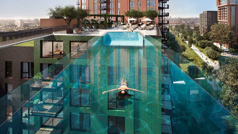 On Wednesday 19 May 2021,the highly anticipatedSkyPool-the largestfree-standingacrylicpool structurein the world --will officially open at Embassy Gardens,the leading riverside neighbourhood in Nine Elms, London.