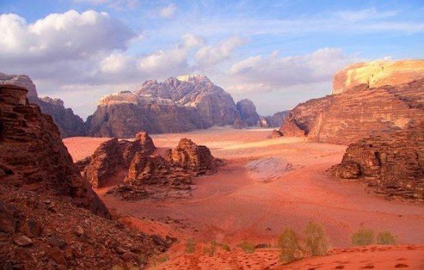 The unique landscape in Wadi Rum Jordan