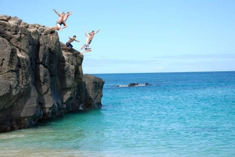 jump off the rock at Waimea Bay