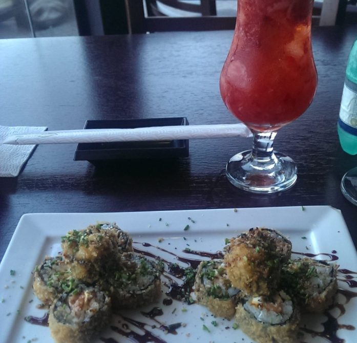 "My hot ""filodelfia"" roll, with a strawberry sakerinha"