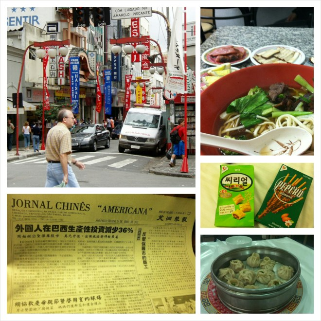 "Clockwise from top left: Liberdade neighborhood (source: skyscrappercity.com), beef noodle soup and Taiwanese appetizers at Sweet Heart, Korean snacks found in an Oriental market, Chinese soup dumplings from Rong He, and Taiwanese newspaper ""Jornal Chines Americana"""