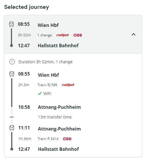 Train Journey from vienna toHallstatt