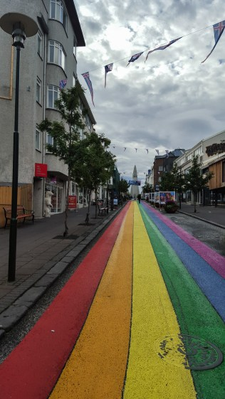 It was Gay Pride Festival the day I arrived in Iceland, which is a huge national festival. They even painted the main street rainbow