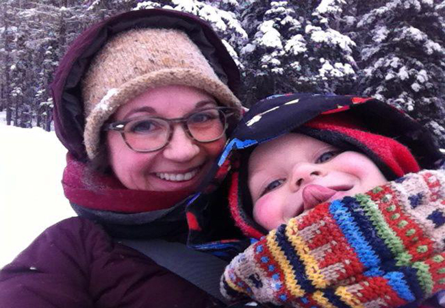 Jenn and Zevin embracing winter