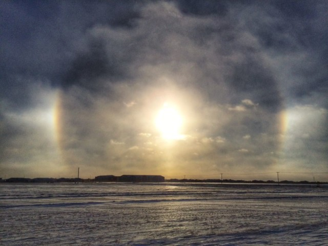 Sundogs beam down in Regina, Saskatchewan