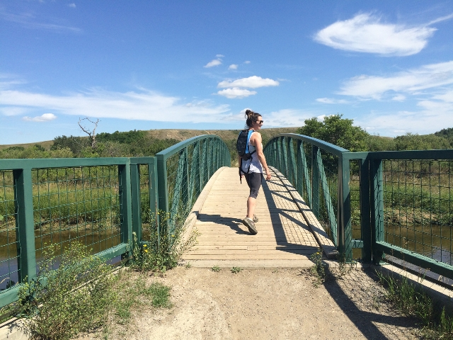 Jenn on bridge at Wascana Trails