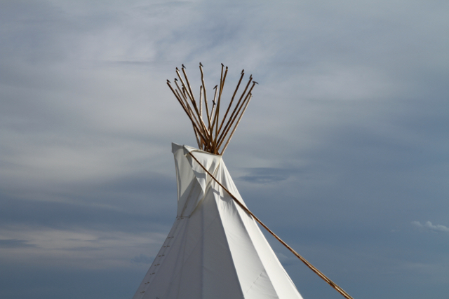 Black birds atop a tipi in Grasslands National Park