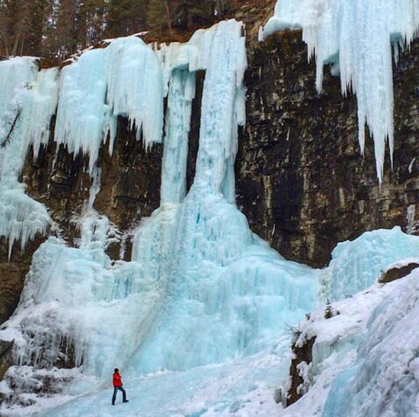 The Upper Falls of Johnston Canyon in Banff.