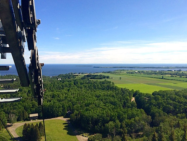 View from cable car of Lac St Jean, Quebec