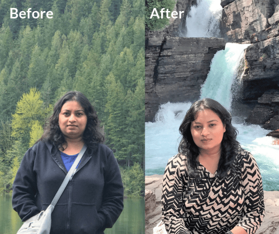 Before and After pic. Weight loss with PCOS and Hypothyroidism. Lose weight with PCOS, Hypothyroidism. Travel and Hike with pcos