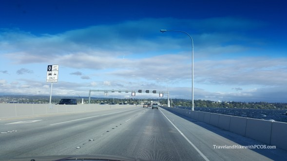 Beautiful blue skies of Seattle. Interstate 90. traveling somewhere
