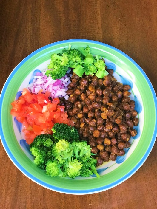 Chickpeas Salad - Indian Style. Good for Breakfast. Colorful Healthy and Protein full of veggies.  how to lose weight with pcos and hypothyroidism, best diets for weight loss with hypothyroidism and pcos