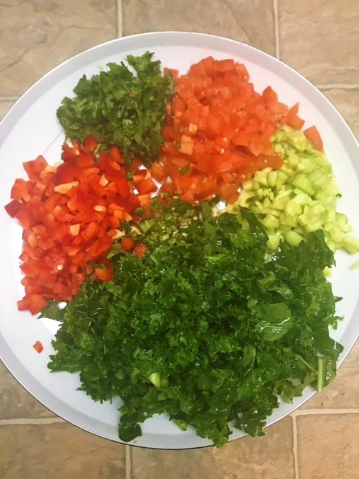 Colorful and chopped veggies for Quinoa Salad.