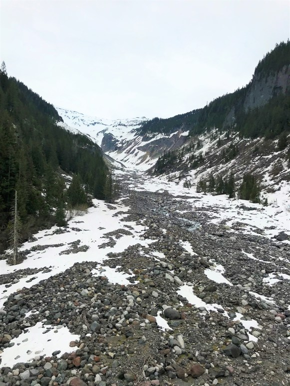 View of Nisqually Glacier from Glacier Bridge at Mount Rainier National Park.  Easy Hikes and Road side attractions at Mount Rainier.