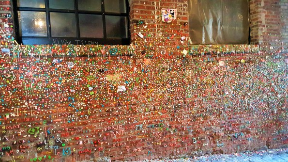 Gum Wall with gum art. Seattle downtown Must Visit  Attractions in Seattle Washington