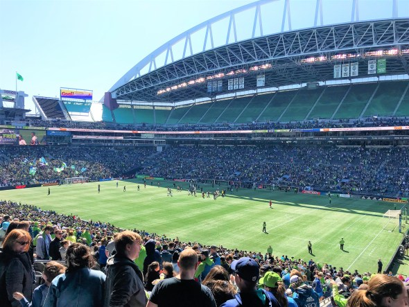 Cheers for Seattle Sounders ,Century Link Stadium