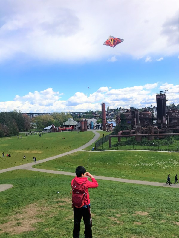 Enjoying Flying kite at Kite Hill, Gas Works Park, Seattle