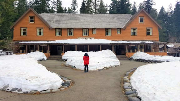. View of National Park Inn surrounded with snow