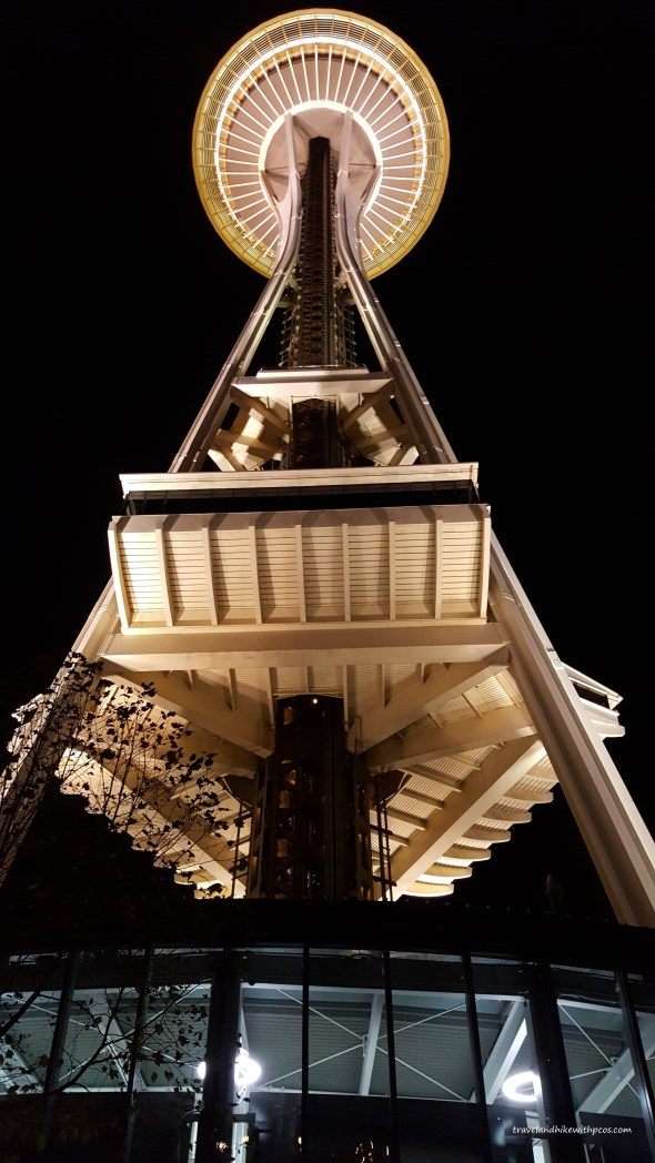 Space Needle glowing at Night. Seattle Downtown Must Visit  Attractions in Seattle, Washington