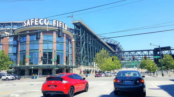 View of Safeco Field from outside on Lovely Sunny Day in Seattle..