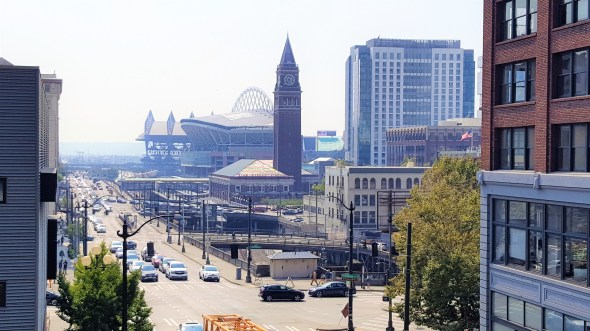 View of Century Link field from down street Must visit places in Seattle Downtown