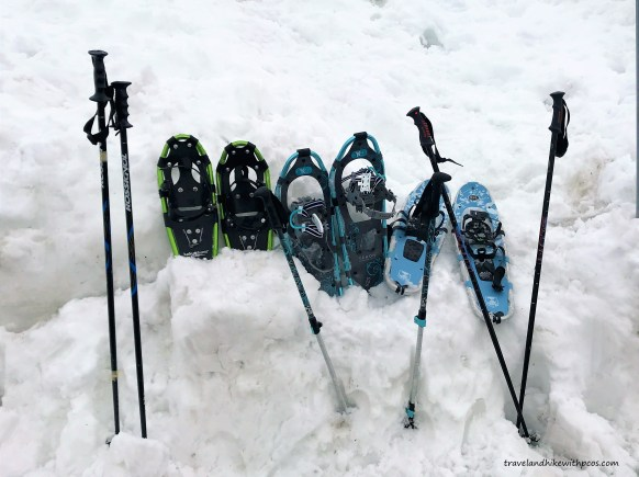 Snow Shoes and Hiking poles for Winter Snowy Hikes in Mount Rainier National Park.  Snowy Hikes in Early Spring at Mount Rainier