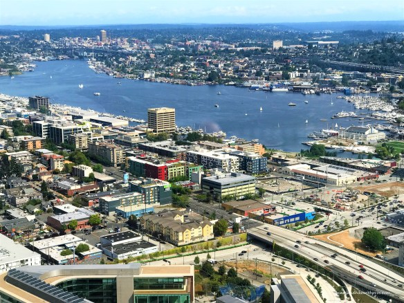 View of Lake Union from Space Needle Observation Deck. Must Visit  Attractions in Seattle, Washington