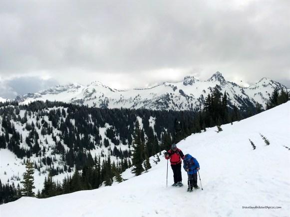 Snow covered On Alta vista trail at Mount Rainier National park