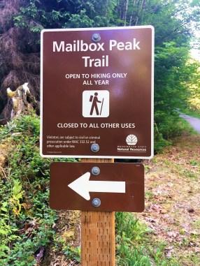 Sign Board at Mailbox Peak trail head
