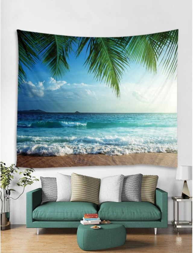 Beach View Print Wall Hanging Tapestry for gift to mom on Mother's Day