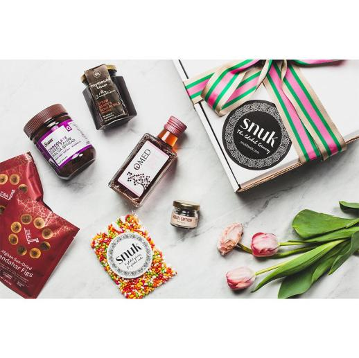 Mother's Day Gift Box with Soom Chocolate Tahini Ziba Afghan Sun-Dried Figs (2) Sugar Coated Fennel Seeds OMED Rosé Vinegar Mymouné Strawberry & Rose Petal Preserves Burlap & Barrel Herati Saffron