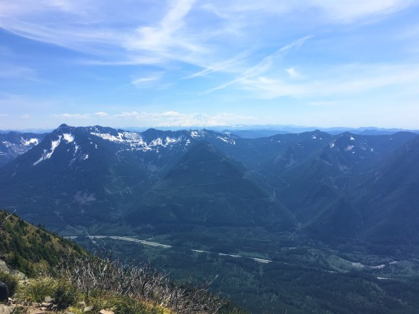 View of Snoqualmie valley from point where old trail and new trail merges at Mailbox peak trail