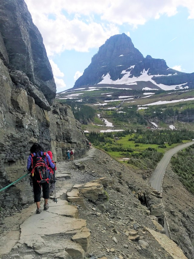 Returning back to Logan Pass from Highline Trail