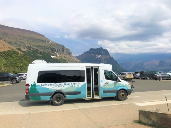Going-to-the-Sun Road Shuttle at Logan Pass Visitor Center Parking Lot