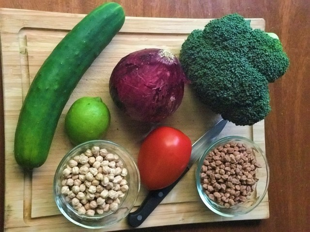 Veggies Board with Indian Chickpeas and regular chickpeas