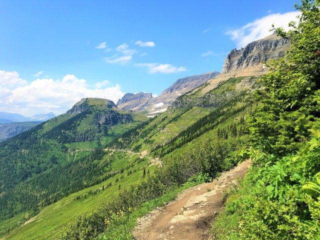 View of Green lush valley from Highline Trail