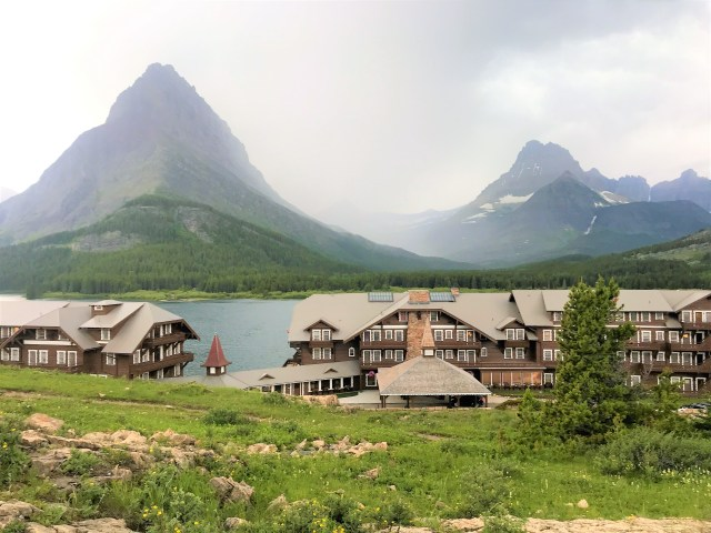 View of Many Glacier Hotel/Lodge from hill next to Parking lot at Many Glacier , Glacier National Park