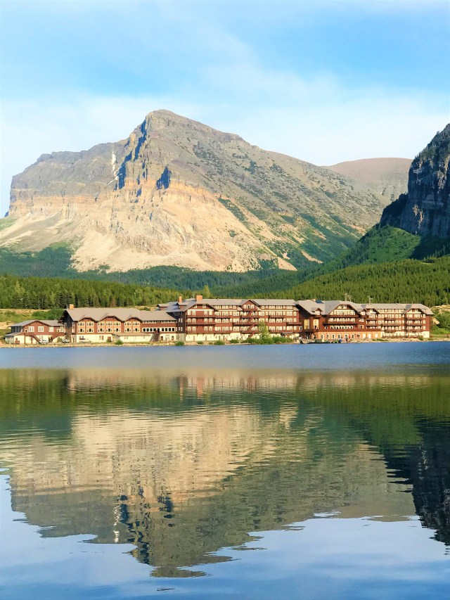 Beautiful View of Many Glacier Hotel and SwiftCurrent Lake at Many Glacier