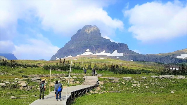 Wooden paved trail leading towards Hidden Lake Lookout at Logan Pass