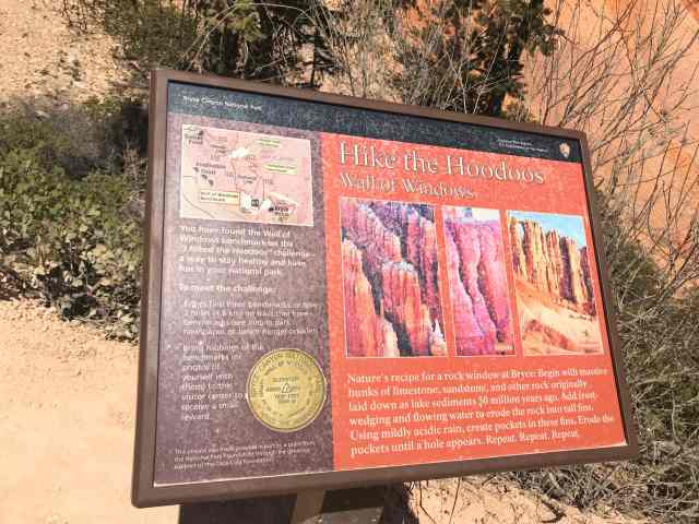 Hike the Hoodoos Sign Board on Peek-A-Boo Loop Trail. Best Hikes in Bryce Canyon National Park