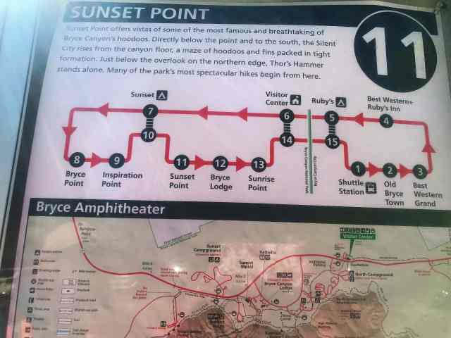 Map of Shuttle Route in Bryce Canyon National Park. Best Hikes in Bryce Canyon National Park