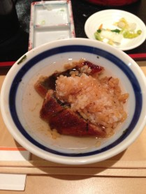 Eel rice with soup base/broth